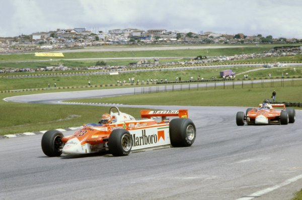 1980 Brazilian Grand Prix.Interlagos, Sao Paulo, Brazil. 25-27 January 1980.Bruno Giacomelli leads Patrick Depailler (both Alfa Romeo 179B).World Copyright: LAT PhotographicRef: 35mm transparency 80BRA24