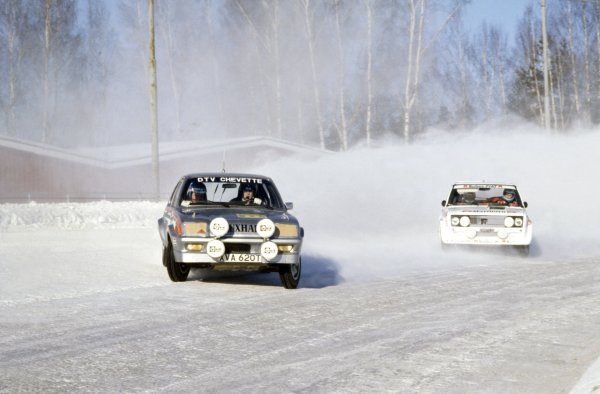1979 World Rally Championship.Swedish Rally, Sweden. 16-18 February 1979.Pentti Airikkala/Risto Virtanen (Vauxhall Chevette 2300HS) leads Markku Alen/Ilkka Kivimaki (Fiat 131 Abarth). They finished in 3rd and 4th position respectively.World Copyright: LAT PhotographicRef: 35mm transparency 79RALLY14