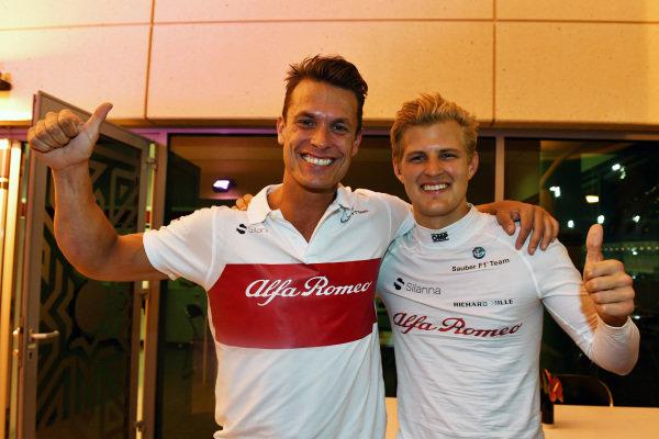 Marcus Ericsson (SWE) Alfa Romeo Sauber F1 Team celebrates at the end of the race