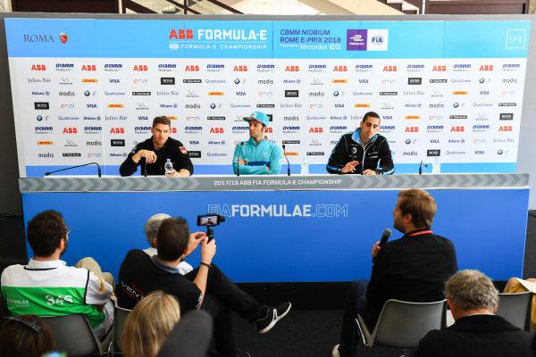Sébastien Buemi (SUI), Renault e.Dams, Renault Z.E 17, Luca Filippi (ITA), NIO Formula E Team, NextEV NIO Sport 003, and Edoardo Mortara (ITA) Venturi Formula E, Venturi VM200-FE-03, in the pre race press conference.