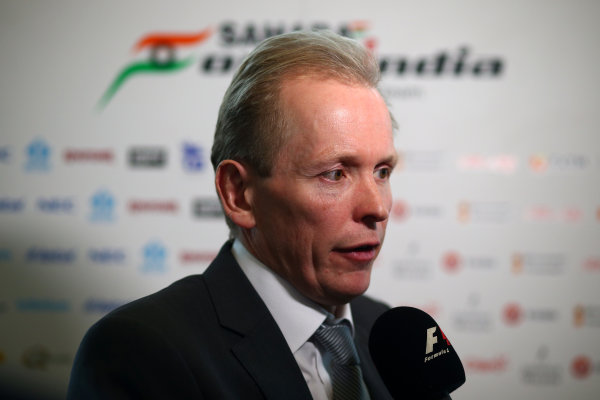 Force India VJM10 Formula 1 Launch. Silverstone, UK. Wednesday 22 February 2017. Andrew Green, Technical Director, Force India, is interviewed by the media. World Copyright: Hoyer/Ebrey/LAT Images Ref: MDH18628