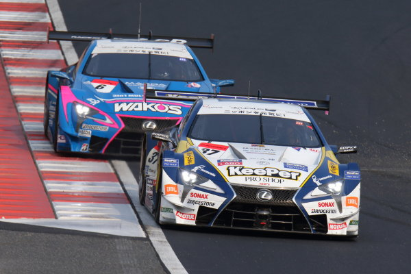 2017 Japanese Super GT Series. Okayama, Japan. 8th - 9th April 2017. Rd 1. GT500 Winner Ryo Hirakawa & Nick Cassidy ( #37 KeePer TOM'S LC500 ) action World Copyright: Yasushi Ishihara / LAT Images. Ref: 2017SGT_Rd1_003