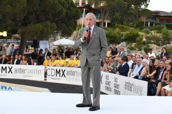 Monte Carlo, Monaco. Friday 26 May 2017. Jackie Stewart (GBR) at the Amber Lounge Fashion Show, Le Meridien Beach Plaza Hotel, Monaco World Copyright: Mark Sutton/Sutton/LAT Images ref: Digital Image dcd1727my361