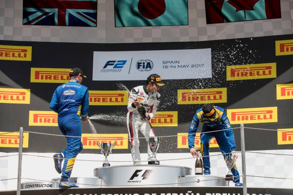 2017 FIA Formula 2 Round 2. Circuit de Catalunya, Barcelona, Spain. Sunday 14 May 2017. Oliver Rowland (GBR, DAMS), Nobuharu Matsushita (JPN, ART Grand Prix), Nicholas Latifi (CAN, DAMS)  Photo: Zak Mauger/FIA Formula 2. ref: Digital Image _56I0256