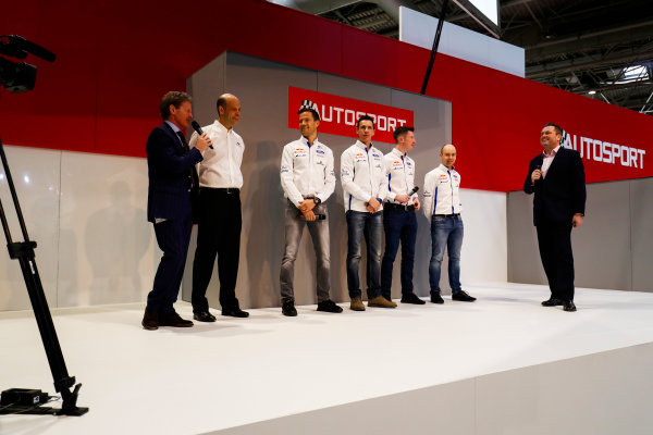 Autosport International Exhibition. National Exhibition Centre, Birmingham, UK. Thursday 11th January 2018. The Ford WRC team, including Sebastien Ogier, Malcolm Wilson and Elfyn Evans, meet Henry Hope-Frost on the Autosport Stage. World Copyright: Ashleigh Hartwell/LAT Images Ref: _O3I8081