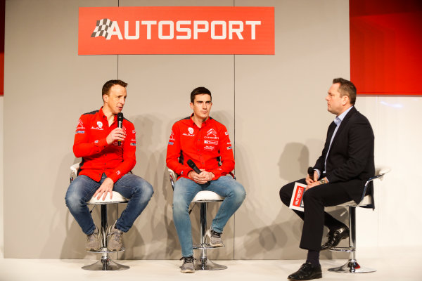 Autosport International Exhibition. National Exhibition Centre, Birmingham, UK. Friday 12th January 2018. Kris Meeke and Craig Breen of Citroen talk to Henry Hope-Frost on the Autosport Stage. World Copyright: Joe Portlock/LAT Images Ref: _U9I0419