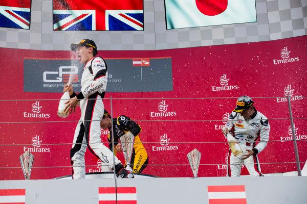 2017 GP3 Series Round 2.  Red Bull Ring, Spielberg, Austria. Saturday 8 July 2017. Jack Aitken (GBR, ART Grand Prix), George Russell (GBR, ART Grand Prix), Nirei Fukuzumi (JPN, ART Grand Prix).  Photo: Zak Mauger/GP3 Series Media Service. ref: Digital Image _56I3760