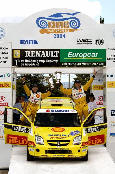 2004 FIA World Rally Champs. Round six, Acropolis Rally.3rd-6th June 2004.Guy Wilks, Suzuki, podium.World Copyright: McKlein/LAT