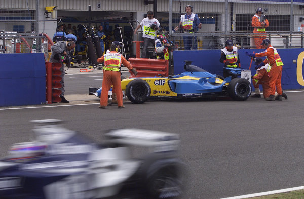2003 British Grand Prix - Sunday Race,2003 British Grand Prix Silverstone, Britain. 20th July 2003.Fernando Alonso retires.World Copyright: Steve Etherington/LAT Photographic ref: Digital Image Only