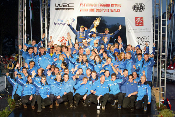 2003 FIA World Rally Champs. Round fourteen Wales Rally GB 6th-9th November 2003.Subaru team, Podium.World Copyright: McKlein/LAT