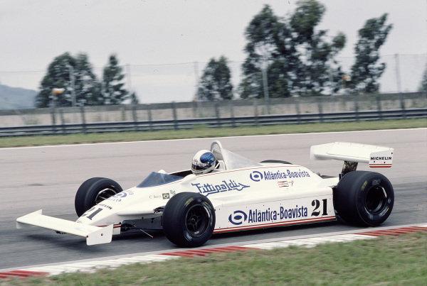 1981 Brazilian Grand Prix.Jacarepagua, Rio de Janeiro, Brazil.27-29 March 1981.Chico Serra (Fittipaldi F8C Ford).Ref-81 BRA 23.World Copyright - LAT Photographic