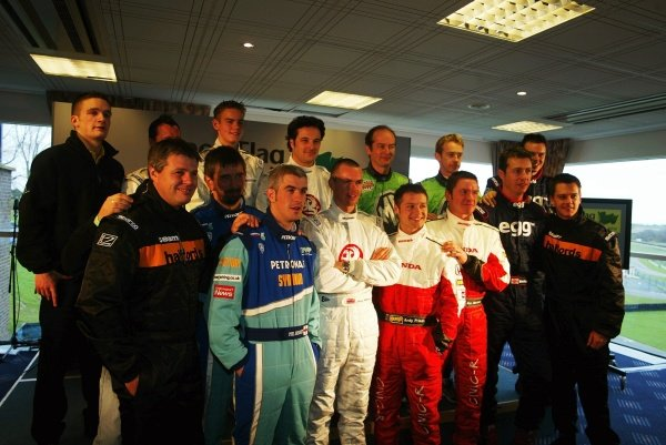 The 2002 BTCC divers line up for a pre-season photo opportunity.British Touring Car Testing, Brands Hatch, England.19 March 2002.