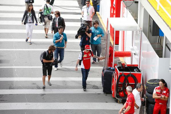 Interlagos, Sao Paulo, Brazil. Sunday 9 November 2014. Kimi Raikkonen, Ferrari. World Copyright: Charles Coates/LAT Photographic. ref: Digital Image _J5R5375