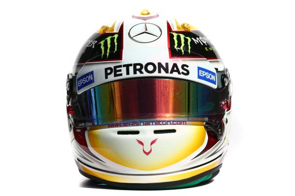 Albert Park, Melbourne, Australia. Helmet of Lewis Hamilton, Mercedes AMG.  Thursday 12 March 2015. World Copyright: LAT Photographic. ref: Digital Image 2015_Helmet_062