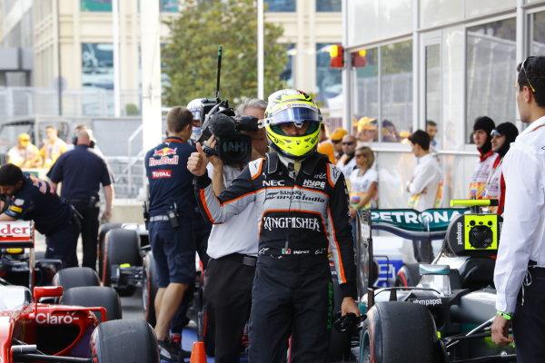 Baku City Circuit, Baku, Azerbaijan. Saturday 18 June 2016. Sergio Perez, Force India, arrives in Parc Ferme after Qualifying. World Copyright: Steven Tee/LAT Photographic ref: Digital Image _H7I9855