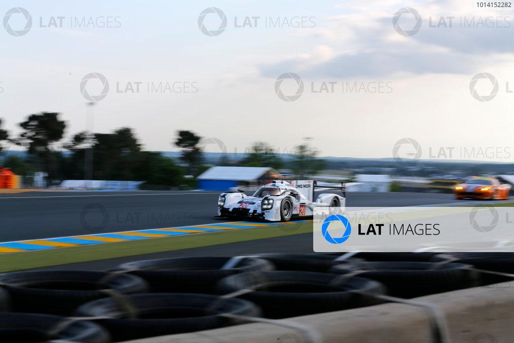 2014 Le Mans 24 Hours. Circuit de la Sarthe, Le Mans, France. Wednesday 11 June 2014.  Timo Bernhard/Mark Webber/Brendon Hartley, Porsche Team, No.20 Porsche 919 Hybrid. World Copyright: Adam Warner/LAT Photographic. ref: Digital Image _L5R0473