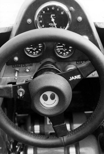 The steering wheel of an F1 car with a smiley face and a dedication to Jane. British Grand Prix, Rd 10, Brands Hatch, England, 16 July 1978.