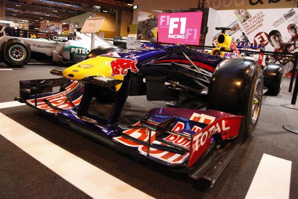 Red Bull Racing showcar on the F1 Racing grid display. Autosport International Show, NEC, Birmingham, England, Day One, 9 January 2014.