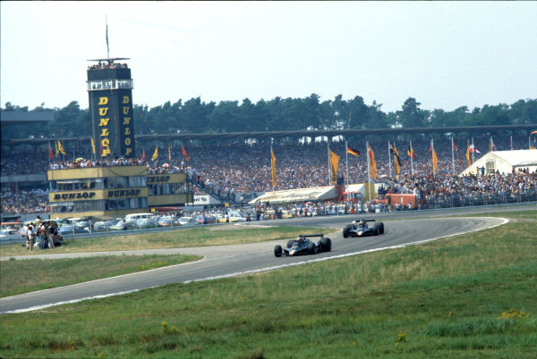 Hockenheim, Germany. 28th - 30th July 1978 Mario Andretti (Lotus 79-Ford), 1st position, leads Ronnie Peterson (Lotus 79-Ford), retired, action.  World Copyright: LAT Photographic. Ref: 78GER17