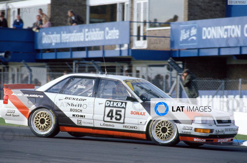 1991 DTM German Touring Car Championship Donington Park, Great Britain Frank Biela (Audi).World Copyright: LAT Photographic