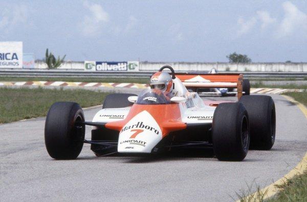 1982 Brazilian Grand Prix.Rio de Janeiro, Brazil. 19-21 March 1982.John Watson (McLaren MP4/1B-Ford Cosworth), 2nd position.World Copyright: LAT PhotographicRef: 35mm transparency 82BRA10