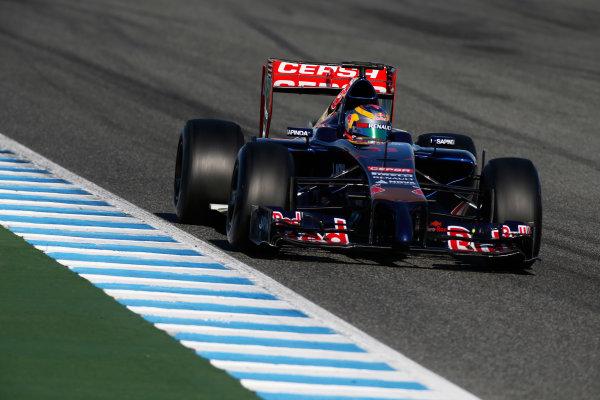 2014 F1 Pre Season Test 1 - Day 3 Circuito de Jerez, Jerez, Spain. Thursday 30 January 2014. Jean-Eric Vergne, Toro Rosso STR9 Renault. World Copyright: Glenn Dunbar/LAT Photographic. ref: Digital Image _W2Q0207.JPG