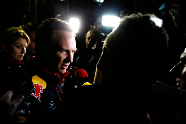 Albert Park, Melbourne, Australia. Sunday 16 March 2014. Christian Horner, Team Principal, Red Bull Racing, addresses the media regarding the disqualification of the car of Daniel Ricciardo, Red Bull Racing. World Copyright: Charles Coates/LAT Photographic. ref: Digital Image _J5R6589