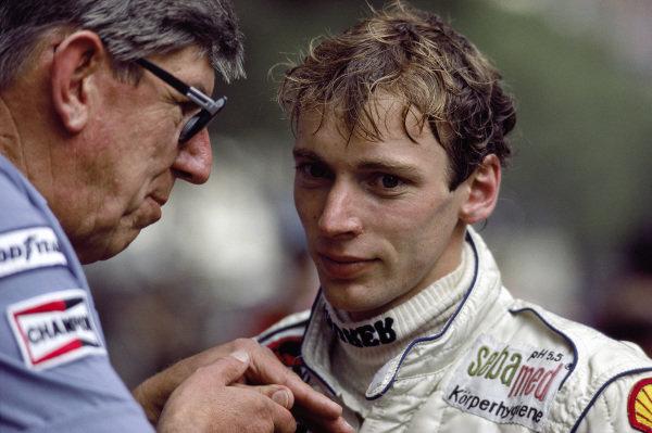 Stefan Bellof with team boss Ken Tyrrell.