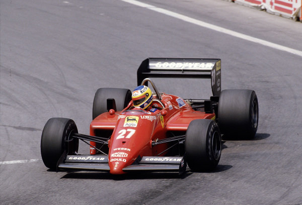 1985 United States Grand Prix.Detroit, Michigan, USA.21-23 June 1985.Michele Alboreto (Ferrari 156/85) 3rd position.Ref-85 USA 22.World Copyright - LAT Photographic