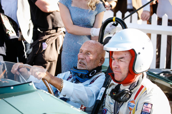 2016 Goodwood Revival Meeting. Goodwood Estate, West Sussex, England.  9th - 11th September 2016 Jack Brabham Tribute Parade Sir Stirling Moss.  World Copyright: Will Elliott / LAT Photographic.  Reference: _DG27972