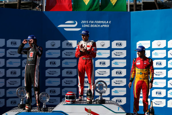 2014/2015 FIA Formula E Championship. Long Beach ePrix, Long Beach, California, United States of America. SuPodium. Nelson Piquet Jr (BRA)/China Racing - Spark-Renault SRT_01E, first, Jean-Eric Vergne (FRA)/Andretti Motorsport - Spark-Renault SRT_01E, second and Lucas di Grassi (BRA)/Audi Abt Sport - Spark-Renault SRT_01E, third.nday 5 April 2015  Photo: Zak Mauger/LAT/Formula E ref: Digital Image _L0U8716