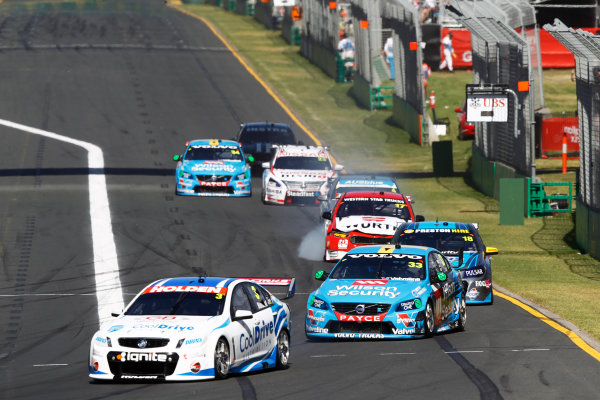 2015 V8 Supercars Albert Park, Melbourne, Australia Saturday 14 March 2015 Tim Blanchard (3, Team Cooldrive), leads Scott McLaughlin (33, Wilson Security Racing GRM), Lee Holdsworth (18, Walkinshaw Performance), and Marcos Ambrose (17, DJR Team Penske). World Copyright: Sam Bloxham/LAT Photographic Ref: Digital Image _G7C7115