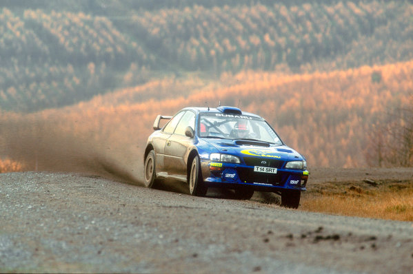 1999 World Rally ChampionshipNetwork Q, United Kingdom. 21st - 23rd November 1999.Rally winner Richard Burns, Subaru Impreza, action.World Copyright: Steven Tee/LAT Photographic