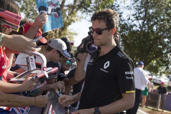 Jolyon Palmer (GBR) Renault Sport F1 Team signs autographs for the fans at Formula One World Championship, Rd1, Australian Grand Prix, Preparations, Albert Park, Melbourne, Australia, Thursday 17 March 2016.