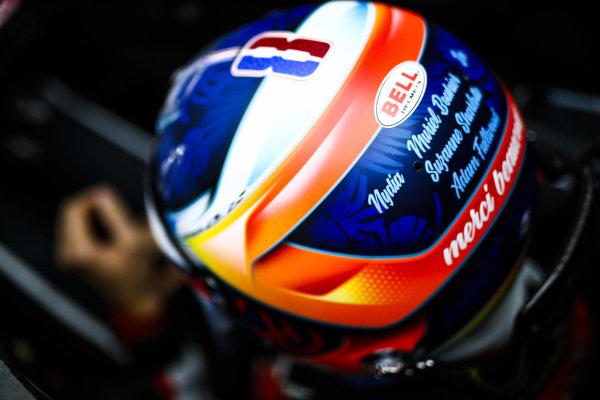 The helmet of Romain Grosjean, Haas F1 Team