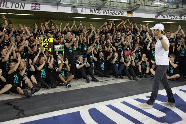 Nico Rosberg celebrates with the team.