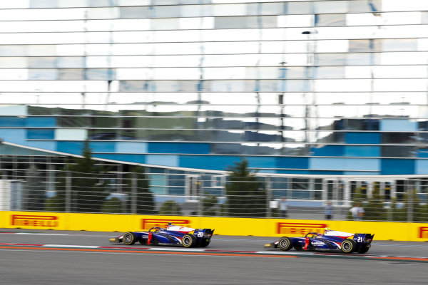 SOCHI AUTODROM, RUSSIAN FEDERATION - SEPTEMBER 28: Giuliano Alesi (FRA, TRIDENT) and Ralph Boschung (CHE, TRIDENT) during the Sochi at Sochi Autodrom on September 28, 2019 in Sochi Autodrom, Russian Federation. (Photo by Carl Bingham / LAT Images / FIA F2 Championship)