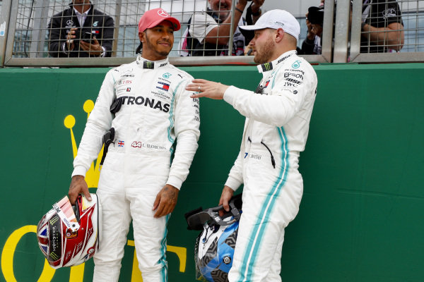 Pole Sitter Valtteri Bottas, Mercedes AMG F1 and Lewis Hamilton, Mercedes AMG F1 celebrates in Parc Ferme