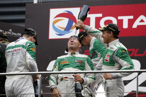 Podium: Winner #33 Rinaldi Racing Ferrari 488 GT3: Hendrik Still, Christian Hook, Manuel Lauck, Alexander Mattschull.