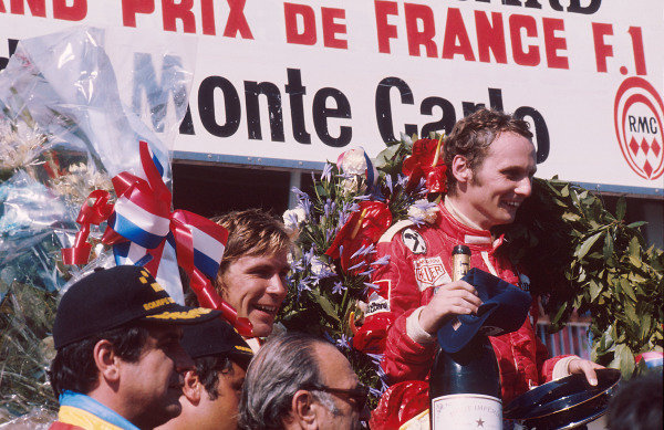1975 French Grand Prix.Paul Ricard, Le Castellet, France.4-6 July 1975.Niki Lauda (Ferrari) 1st position and James Hunt (Hesketh Ford) 2nd position on the podium. Ref-75 FRA 01.World Copyright - LAT Photographic