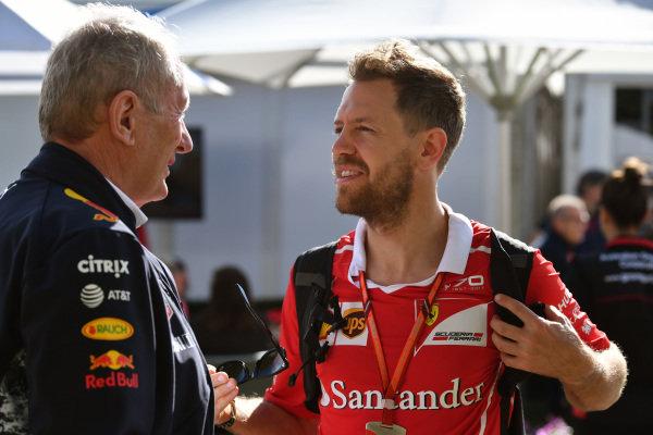 Dr Helmut Marko (AUT) Red Bull Motorsport Consultant and Sebastian Vettel (GER) Ferrari at Formula One World Championship, Rd1, Australian Grand Prix, Practice, Albert Park, Melbourne, Australia, Friday 24 March 2017.
