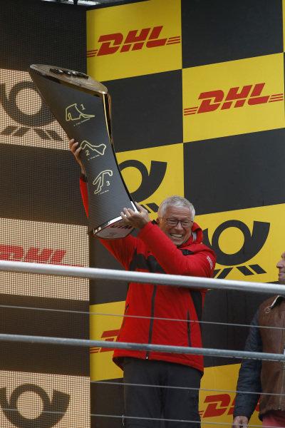 Champion ship Podium: Arno Zensen, Audi Sport Team Rosberg, Team champion.
