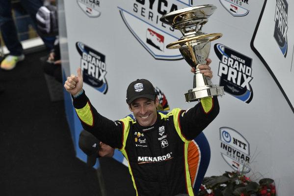 Simon Pagenaud, Team Penske Chevrolet celebrates the win in victory lane