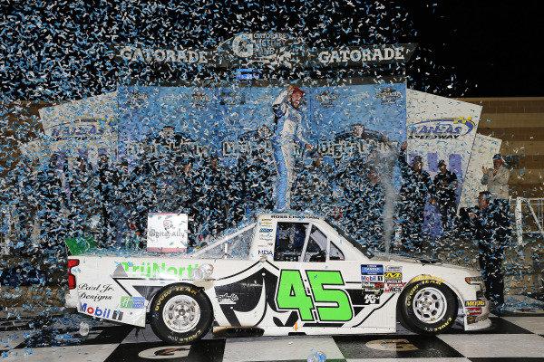 #45: Ross Chastain, Niece Motorsports, Chevrolet Silverado TruNorth/Paul Jr. Designs celebrates his win