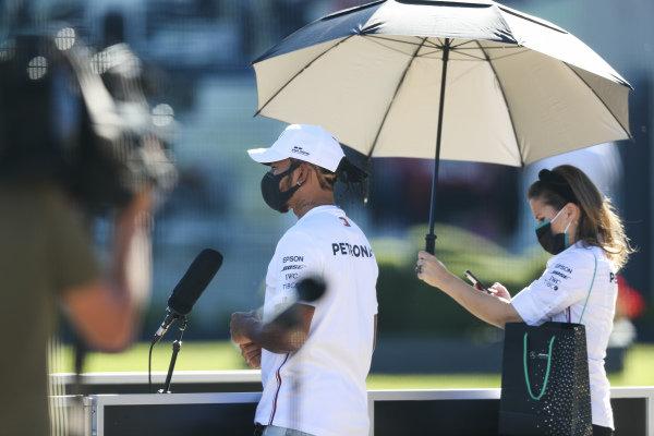 Lewis Hamilton, Mercedes-AMG Petronas F1 speaks to the media