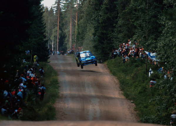 Juha Kankkunen in action during leg 1 of the Neste Rally of Finland.
