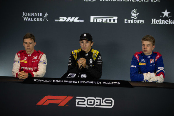 AUTODROMO NAZIONALE MONZA, ITALY - SEPTEMBER 06: Christian Lundgaard (DNK, ART Grand Prix) Marcus Armstrong (NZL, PREMA Racing) and Robert Shwartzman (RUS, PREMA Racing) during the Monza at Autodromo Nazionale Monza on September 06, 2019 in Autodromo Nazionale Monza, Italy. (Photo by Joe Portlock / LAT Images / FIA F3 Championship)