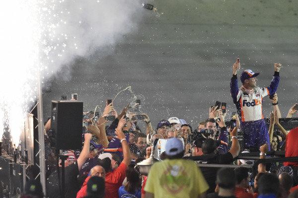#11: Denny Hamlin, Joe Gibbs Racing, Toyota Camry FedEx Freight celebrates his win