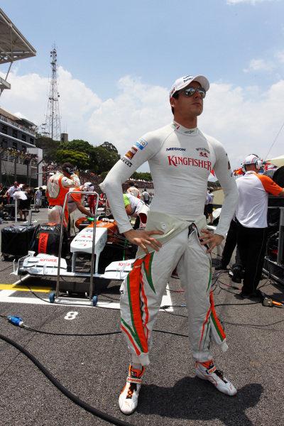Adrian Sutil (GER) Sahara Force India Formula One Team on the grid. Formula One World Championship, Rd 19, Brazilian Grand Prix, Race, Interlagos, Sao Paulo, Brazil, Sunday 27 November 2011.