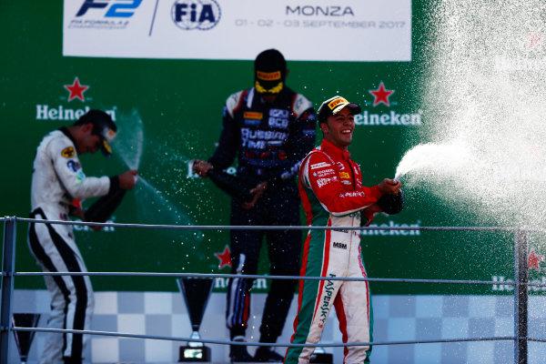 Autodromo Nazionale di Monza, Italy. Sunday 3 September 2017 Luca Ghiotto (ITA, RUSSIAN TIME). Sergio Sette Camara (BRA, MP Motorsport). and Antonio Fuoco (ITA, PREMA Racing).  Photo: Mauger/FIA Formula 2 ref: Digital Image _W6I4958